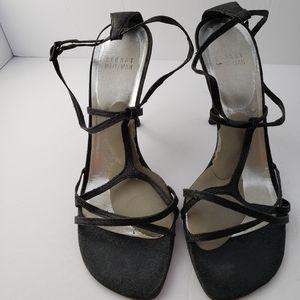 Stuart Weitzman strappy black sparkly heels